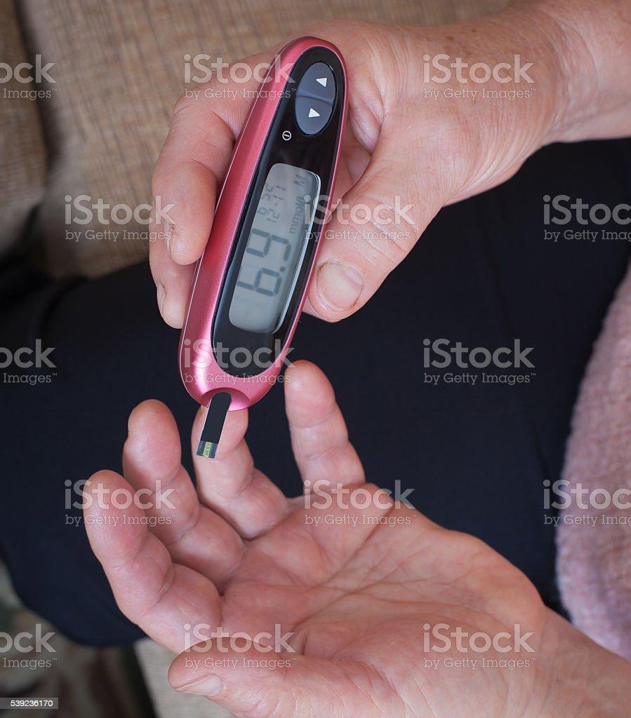 Woman makes testing high blood sugar. royalty-free stock photo