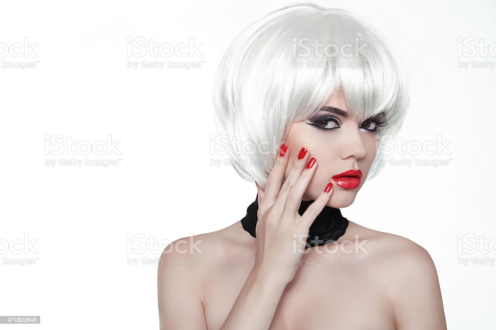 Woman Makeup and Polish nails. Red Lips. Manicured Hands. royalty-free stock photo