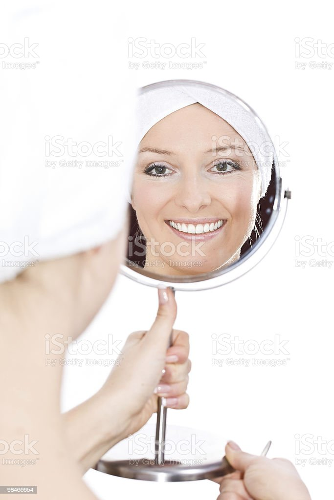 Woman makeup in mirror royalty-free stock photo