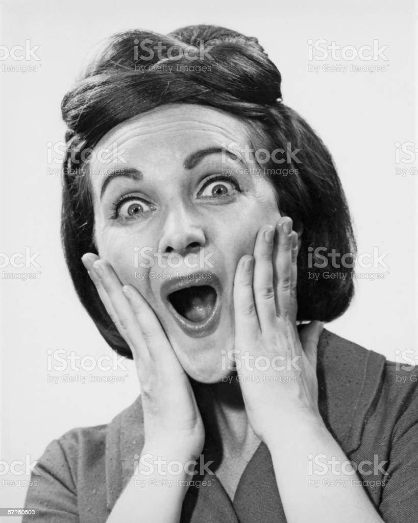 Woman making face, (B&W), portrait stock photo