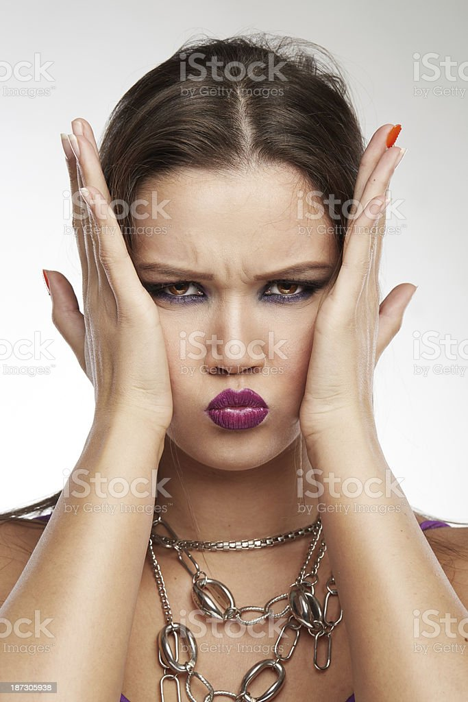 Woman Making Faces: Pain stock photo