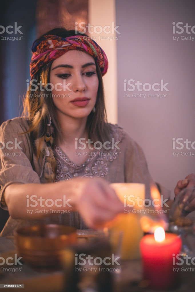 Woman making natural cosmetics, top view stock photo