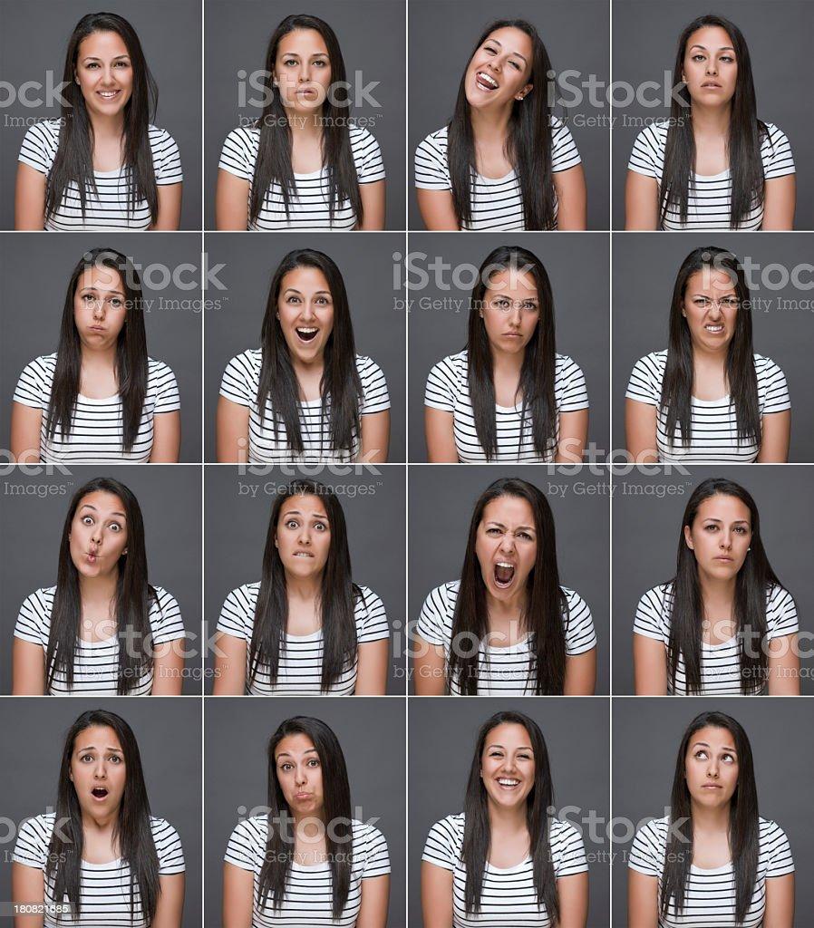 Woman making sixteen facial expressions stock photo