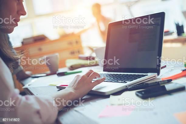 Frau Managerin Arbeitet Mit Projekt Auf Laptop Stockfoto und mehr Bilder von Geschäftsbesprechung