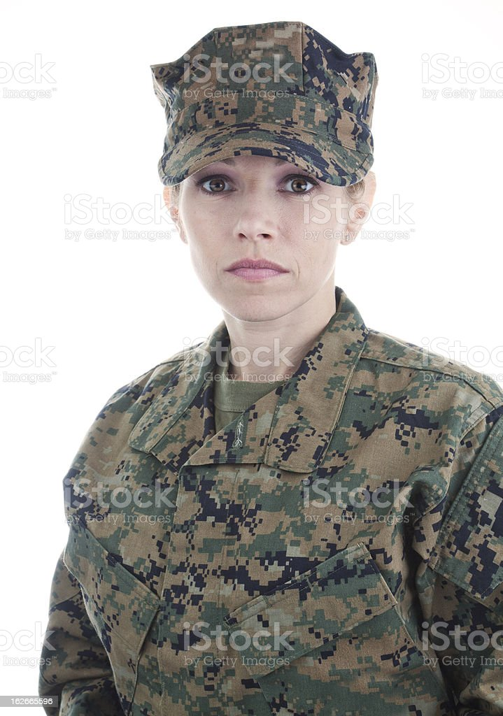 Woman Marine with Cover royalty-free stock photo