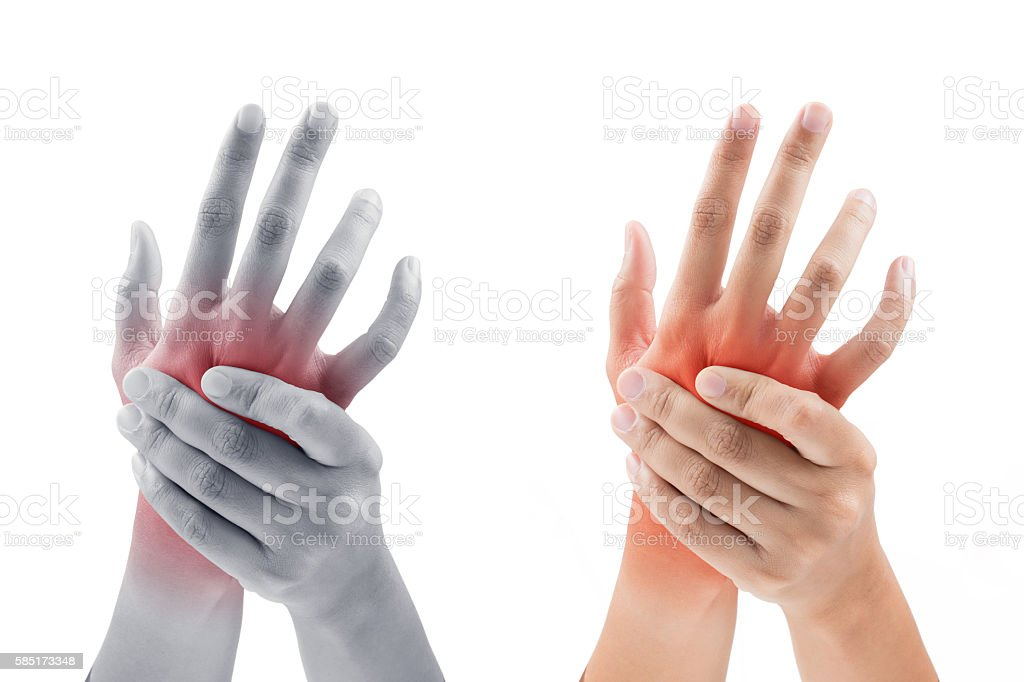 Woman massaging her painful hand on white background - foto de stock