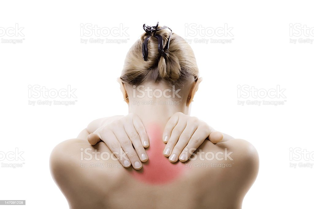 Woman massaging pain neck stock photo