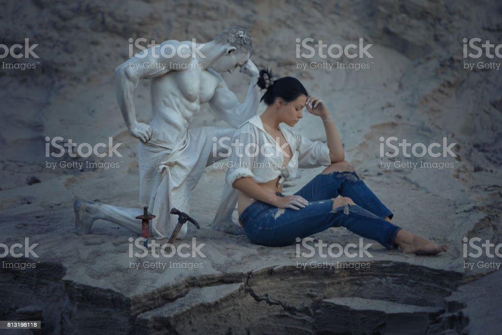 Woman master thoughtful. stock photo