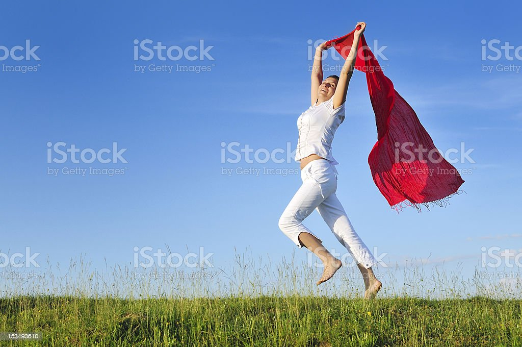woman meadow scarf royalty-free stock photo