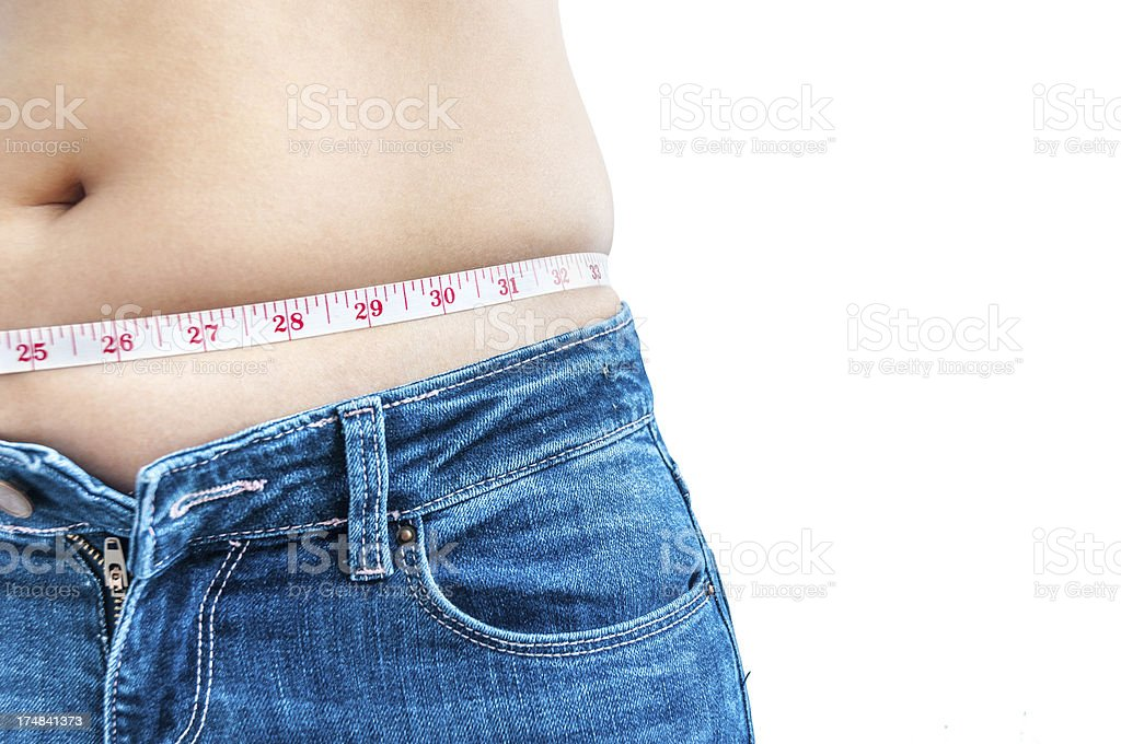 Woman Measuring Her Waist With A Tape Measure royalty-free stock photo