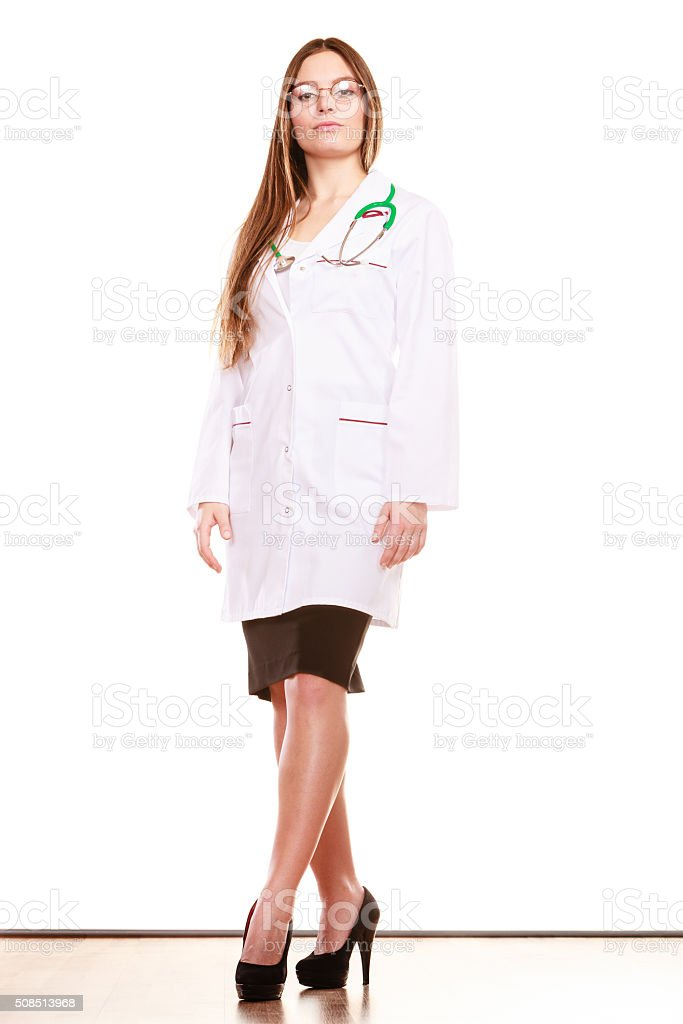 Woman medical doctor with stethoscope. Health care stock photo
