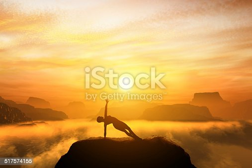 Woman meditating in side balance yoga position on the top of mountains above clouds at sunset. Zen, meditation, peace