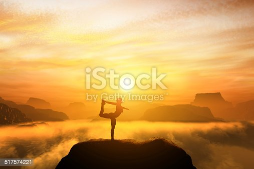 Woman meditating in the dancer yoga position on the top of mountains above clouds at sunset. Zen, meditation, peace