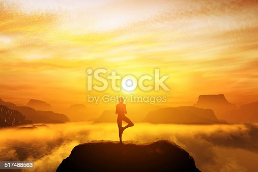 Woman meditating in tree yoga position on the top of mountains above clouds at sunset. Zen, meditation, peace
