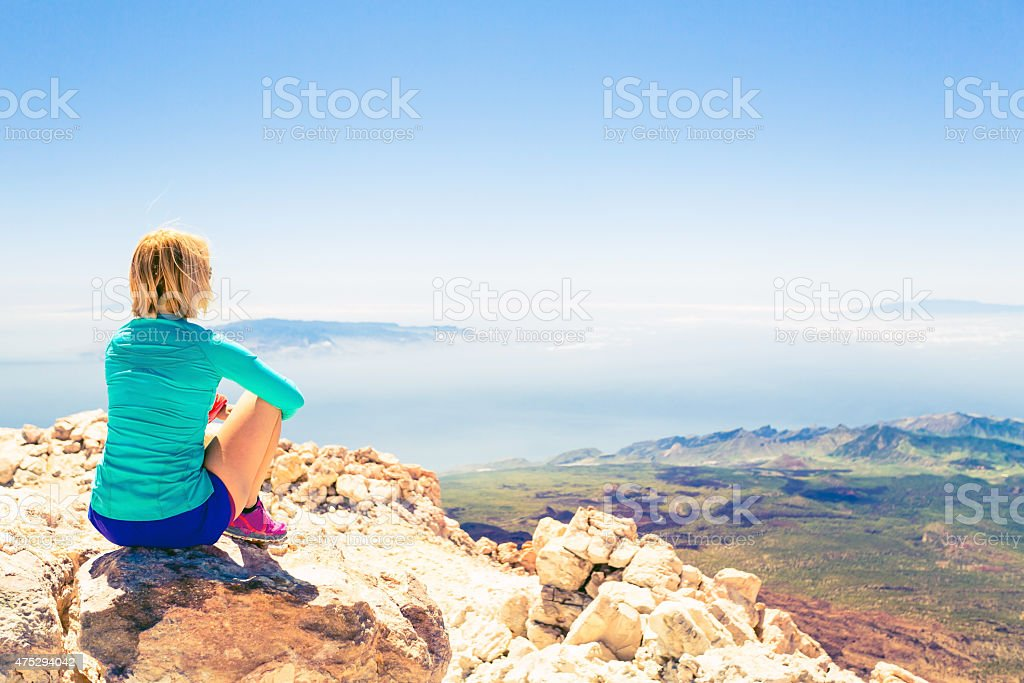 Young woman looking and meditation outside natural beautiful...