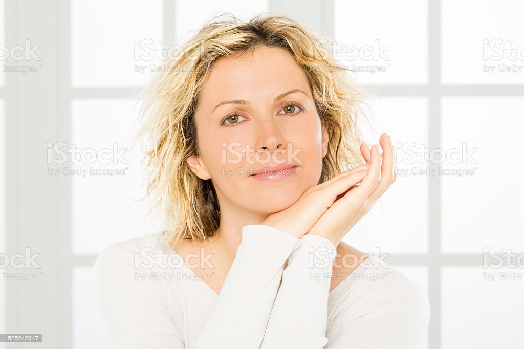 Woman, middle age and skin care. stock photo
