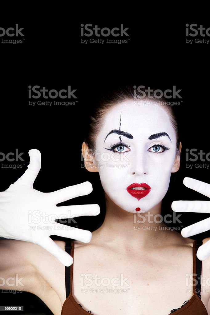 woman  mime with hands in white gloves royalty-free stock photo