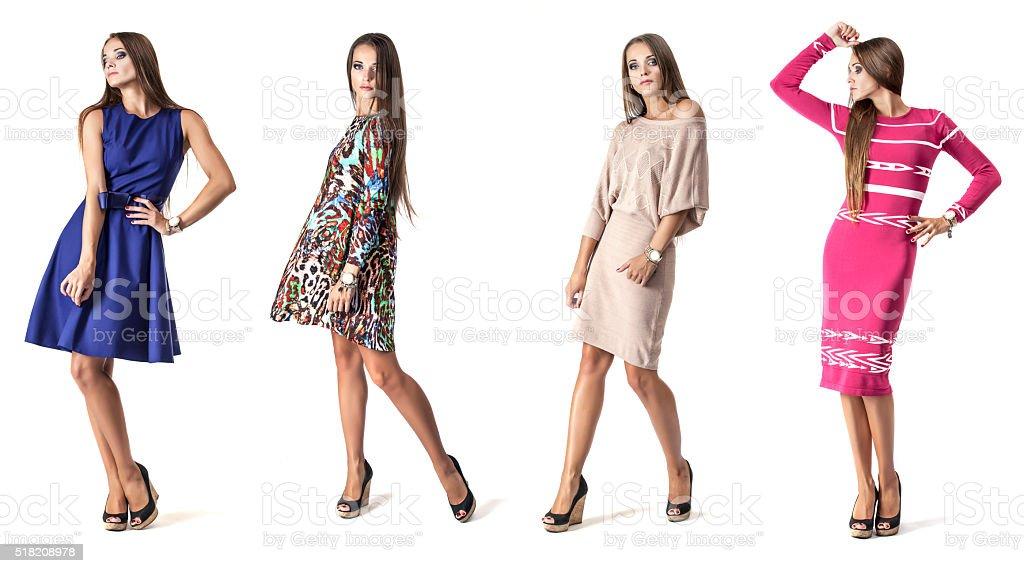 Modelo de mujer con vestido corto de duración completa en estudio - foto de stock