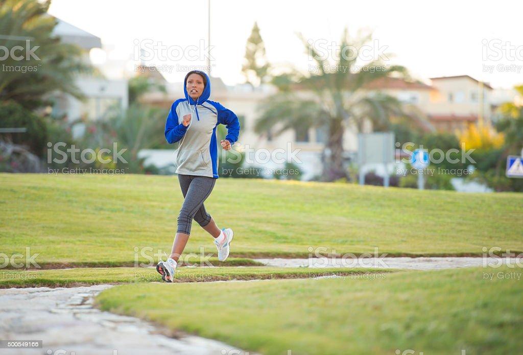 Woman morning workout. stock photo