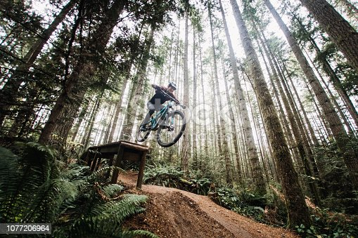 An adult woman rides to the edge of a large ladder drop jump at a mountain bike park in a Pacific Northwest forest.  Shot in Issaquah, Washington, USA.