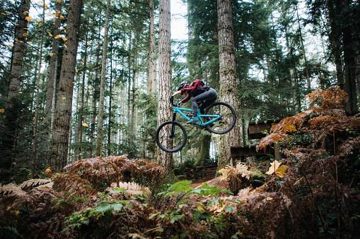 Woman Mountain Biking On Forest Trails