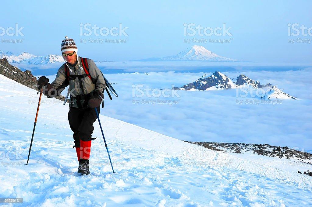 Woman mountaineer royalty-free stock photo