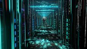woman Moving Through Data Center with Server Racks LED Lights