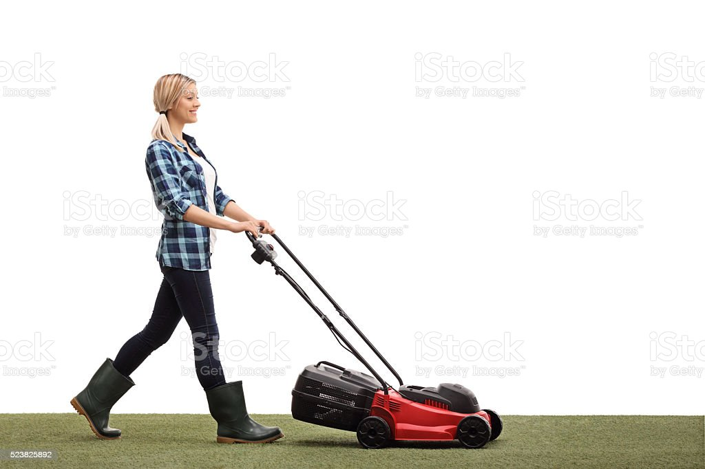 Woman Mowing Lawn High-Res Stock Photo - Getty Images