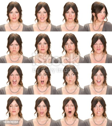 istock Woman multiple expression image on white background 163809065