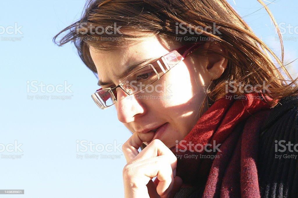 Woman nail biting for anxiety, stress royalty-free stock photo