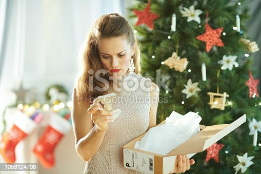 istock woman near Christmas tree looking at broken dish from parcel 1059124706
