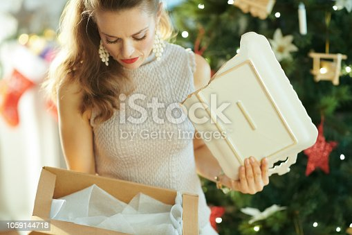 1059144984 istock photo woman near Christmas tree pulling out broken dish from parcel 1059144718