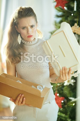 1059144984 istock photo woman near Christmas tree pulling out broken dish from parcel 1059144724