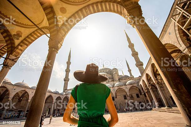 Woman Near The Blue Mosque In Istanbul Stock Photo - Download Image Now