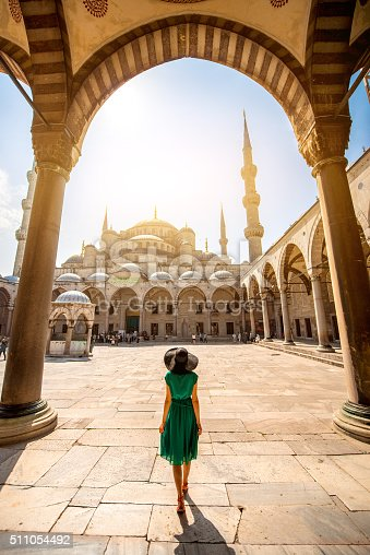 istock Woman near the Blue Mosque in Istanbul 511054492