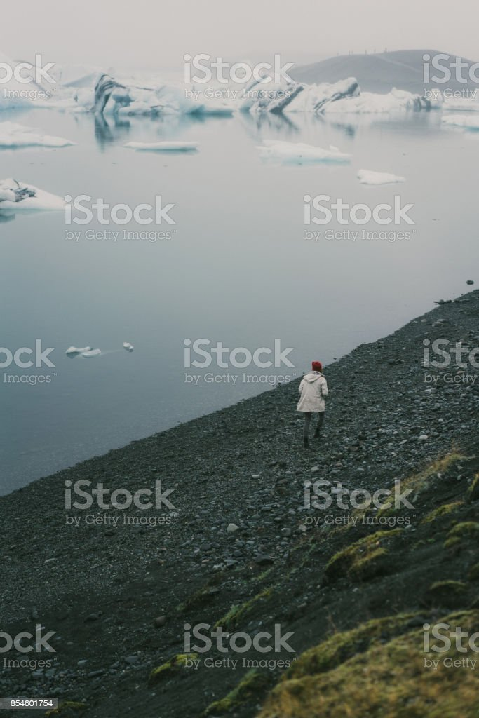 Woman near the Jokulslarson stock photo