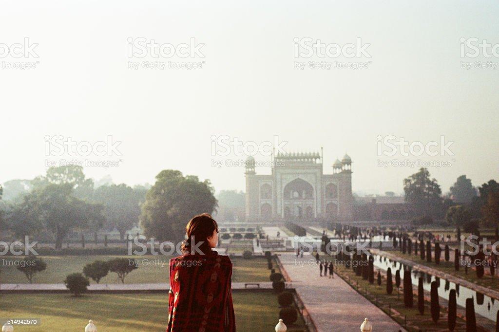 Woman near the Taj Mahal stock photo
