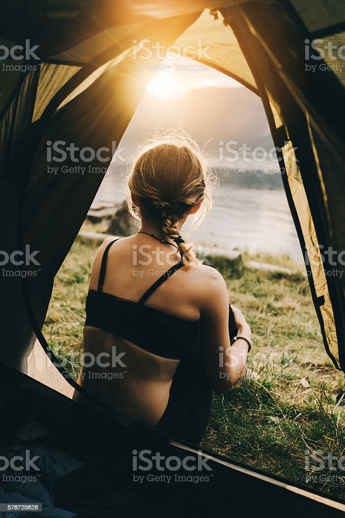 Woman near  the tent stock photo