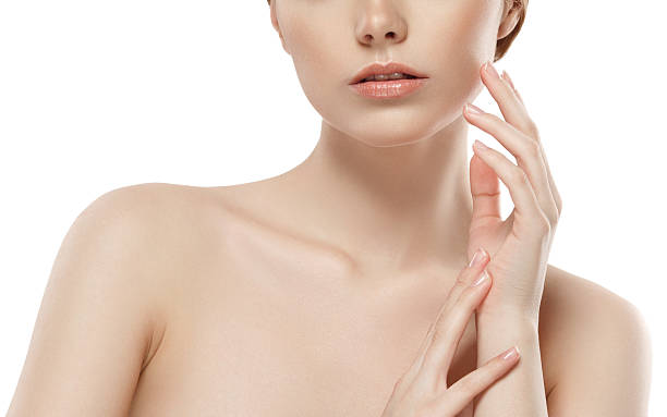 woman neck shoulder lips nose chin cheeks - shoulder surgery stock photos and pictures