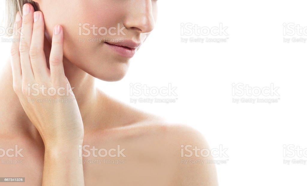 Woman neck shoulder lips nose. Studio shot. Isolated on white. stock photo