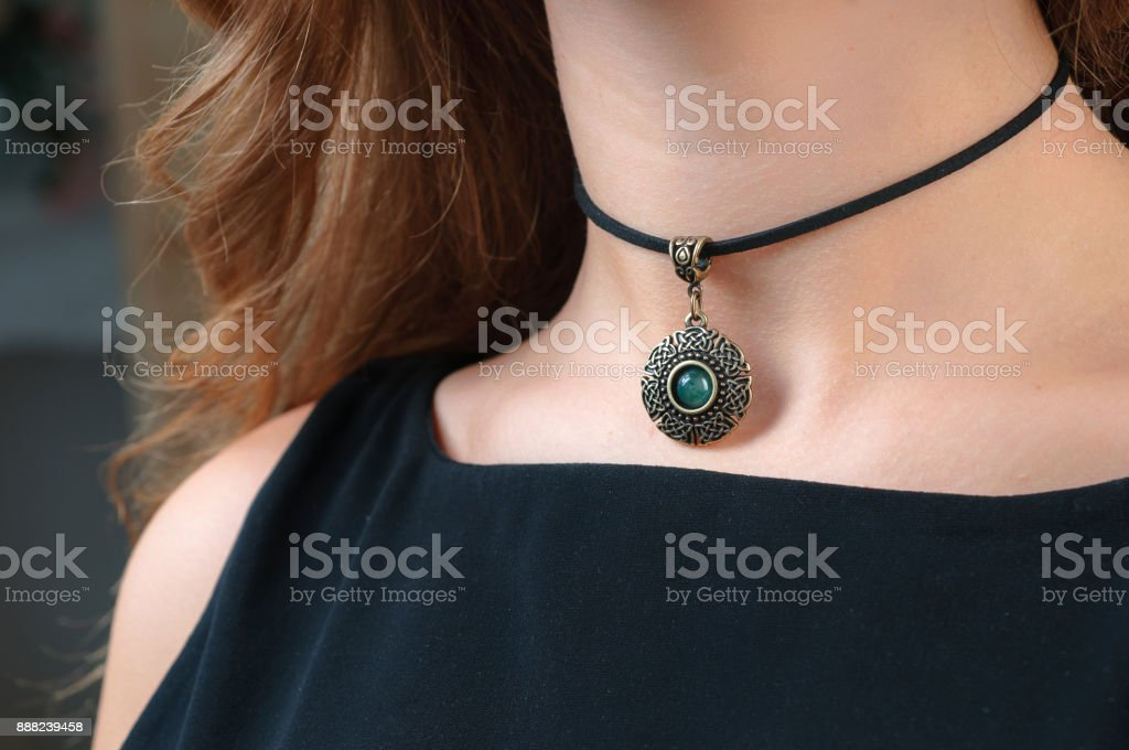 woman necklace promotion stock photo