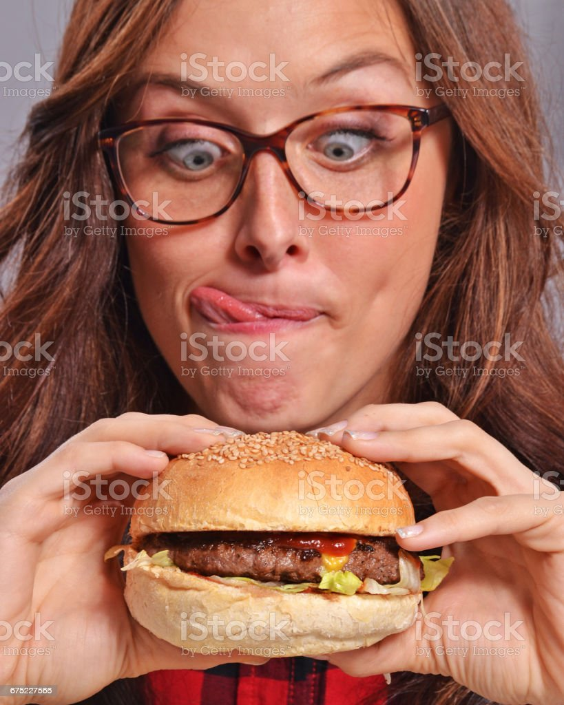 woman nerd burger stock photo