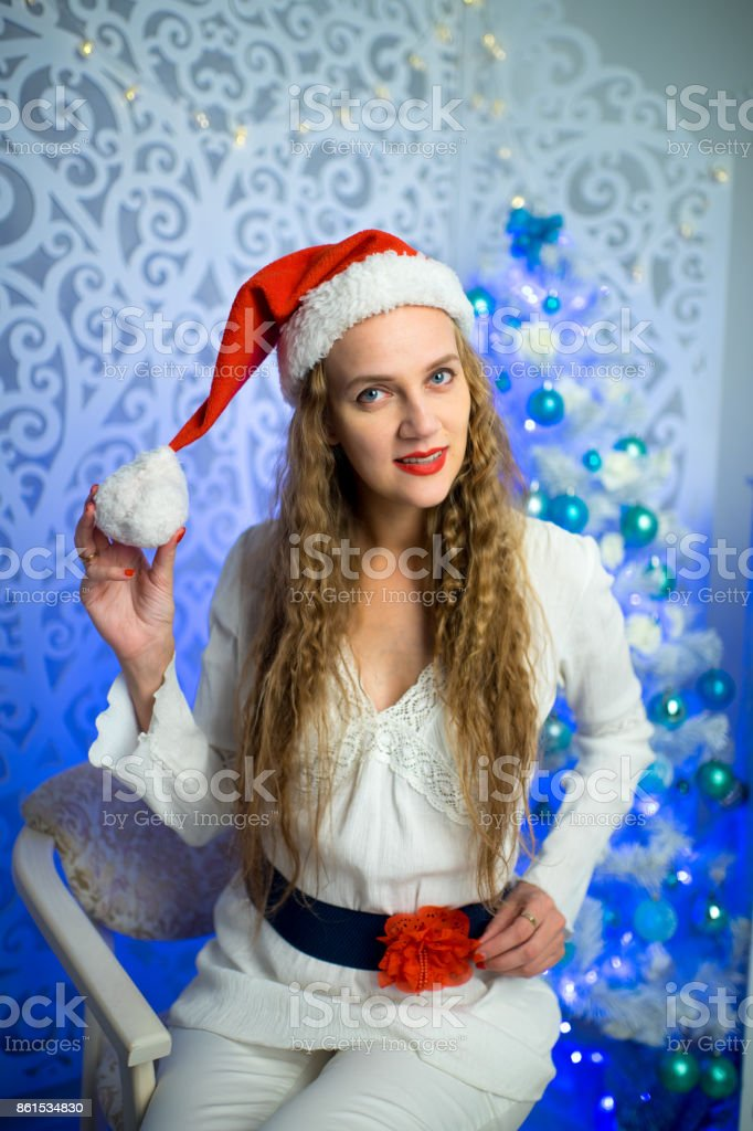 Woman New Year stock photo