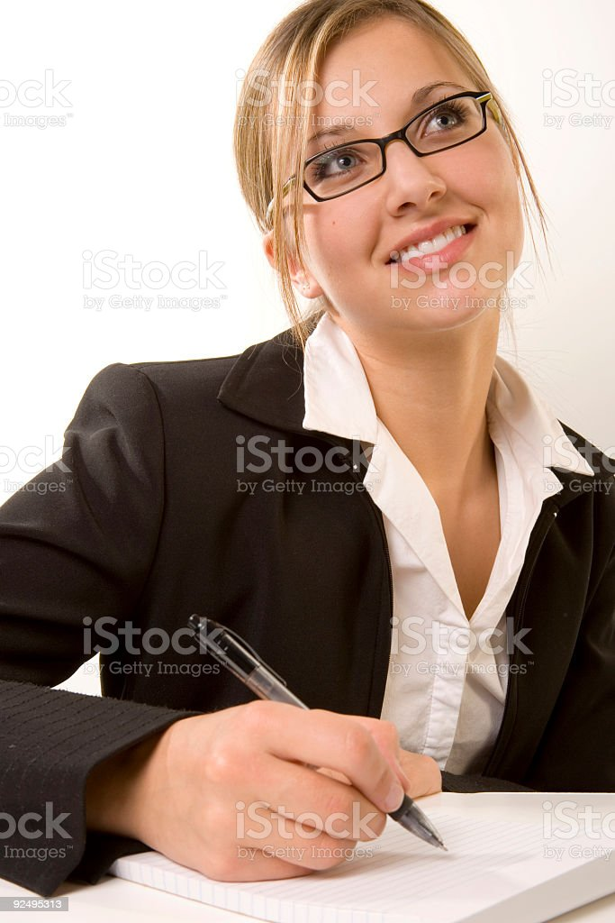 Woman / Notepad royalty-free stock photo