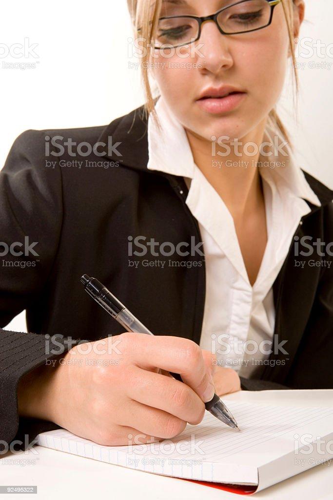Woman / Notepad royalty-free stock photo