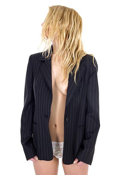 frau nackt in blazer - lange jacken stock-fotos und bilder