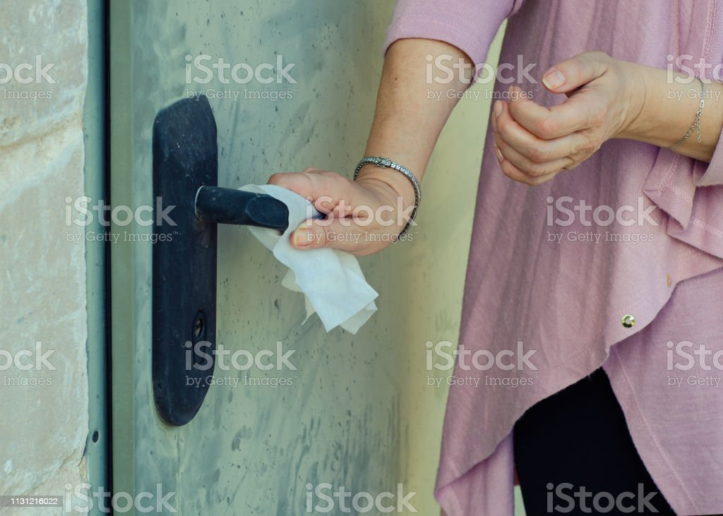 A woman obsessed with fear of germ contamination stock photo