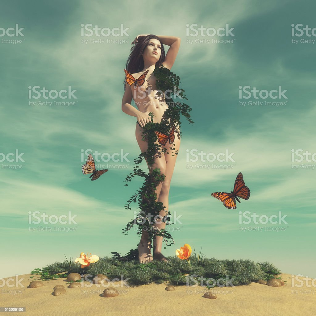 Woman of nature stock photo