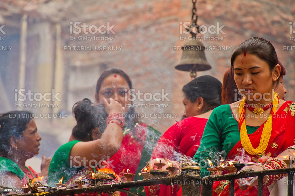 Woman of Teej festival, Durbar Square, Kathmandu, Nepal stock photo