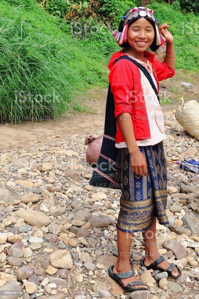 Mujer De La Tribu De La Colina De Akha Yaer Provincia De